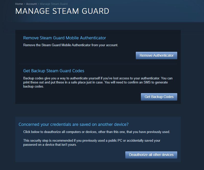 Deauthorize all devices on Steam