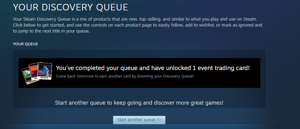 Steam Summer Sale discovery queue